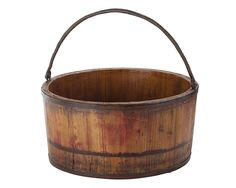Handcrafted elm wood bucket with a natural finish and wrought iron hardware. Product: BucketConstruction Material: S. Crate Storage, Storage Containers, Wooden Containers, Water Bucket, Tonne, Basket Decoration, Joss And Main, Wooden Handles, Accent Pieces