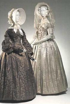 Wedding dresses, 1837-39, Bridal Lexington Museum