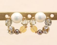 Luccica 恬美和風日系珍珠粉紅淡茶環 耳環 (包平郵有夾式)