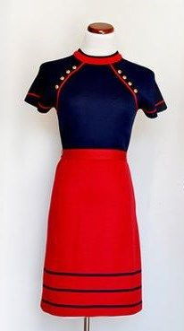 Vintage 1960s red knit dress styled in Italy.