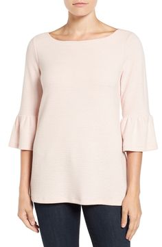 Pleione Stripe Knit Bell Sleeve Top available at #Nordstrom