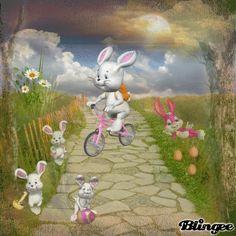 Nun aber schnell fahren die Kinder warten schon auf das Anmalen der Ostereier.. Holiday Gif, Rabbit Drawing, Just Magic, Cute Gif, Happy Easter, Easter Eggs, Iphone Wallpaper, Birds, Cartoon