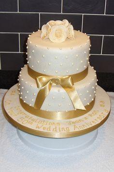 gold 50th wedding anniversary cake | Golden Wedding Anniversary Cake