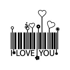 Code-barres I love You / Coeurs Más