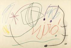 35007241. MIRÓ I FERRÀ, Joan (Barcelona, 1893 – Palma de Mallorca, 1983). Sin título. Ceras sobre papel. Firmado. Adjunta certificado de autenticidad. Medidas: 71 x 106 cm; 96,5 x 132 cm (marco). Cat Art, Modern Art, Rooster, Paper, Barcelona Catalonia, Signature, Image, Certificate, Self