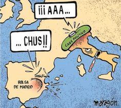 Dubujo chulo de Malagón sobre la situación en España e Italia.