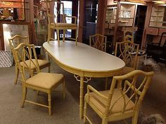 Vintage Thomasville Table And 6 Chairs Allegro Faux Bamboo Hollywood Regency Part 73