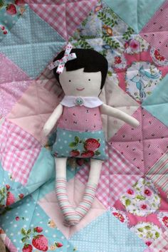 Strawberry Sally Black Apple Doll by CottonPaperScissors on Etsy, $24.00