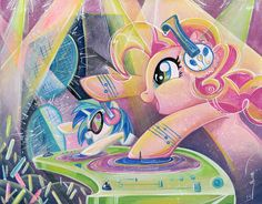 Pinkie Pie and Vinyl Scratch Poster for IDW's MLP artbook