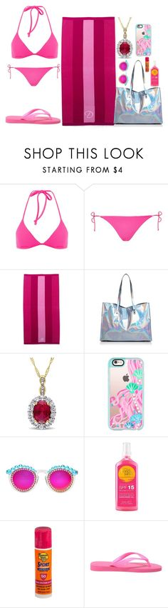 """""""Daphne Nightshade (Fanfic) Beach look"""" by gryffindormermaid ❤ liked on Polyvore featuring Topshop, Lands' End, Nasty Gal, Casetify, Frēda Banana, Bondi Sands, Banana Boat and Havaianas"""