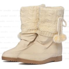 Pompom-Accent Hidden Wedge Short Boots – Boots   yeswalker   Free worldwide shipping on every order