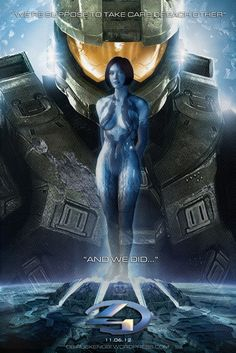 master chief cortana in hand | ... Halo 4…had to make this Cortana & Master Chief fan art » CORTANA_4B