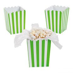 "Lime Green Striped Mini Popcorn Boxes 3"" x 3"" x 4in 