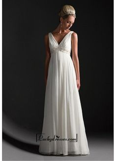 Beautiful Elegant Exquisite Empire V-neck Wedding Dress In Great Handwork Sale On LuckyDresses.com With Top Quality And Discount