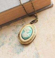 Oval Locket Necklace Aqua Blue Cameo Pendant by apocketofposies