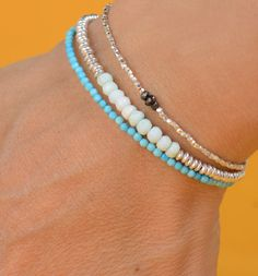 Opal and sterling silver  beads  bracelet by zzaval on Etsy, so many bracelets!