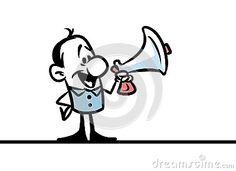Character man megaphone meeting cartoon illustration