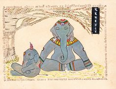 #Namaste #Yoga Art Elephant Painting #Lotus Pose.