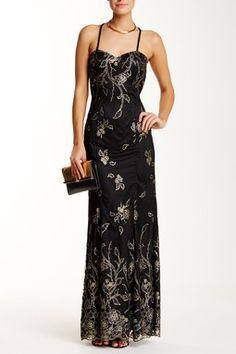 Sweetheart Neck Glitter Floral Long Dress