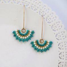Fan earrings, Long turquoise earring, turquoise & pearl earring, Gold turquoise earring. turquoise dangle earrings, swarovski crystal pearls by LioraBJewelry on Etsy https://www.etsy.com/listing/218084439/fan-earrings-long-turquoise-earring