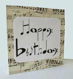 Musical Birthday Cards Elegant Chlef Musical Notes Birthday Card by Say It Folksy Musical Birthday Cards, Musical Cards, Handmade Birthday Cards, Happy Birthday Cards, Happy Birthday Music Notes, 20 Birthday, Birthday Design, Card Birthday, Birthday Greetings