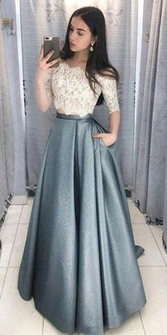Two Pieces Half Sleeve Lace Grey Long Evening Prom Dresses, Cheap Sweet 16 Dress. - - Two Pieces Half Sleeve Lace Grey Long Evening Prom Dresses, Cheap Sweet 16 Dresses, 18433 Source by loverbridalcooffical Indian Gowns Dresses, Sweet 16 Dresses, A Line Prom Dresses, Cheap Prom Dresses, Trendy Dresses, Dance Dresses, Fashion Dresses, Fashion Styles, Cheap Dress