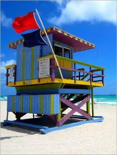 """""""Art Deco Lifeguard - am Strand von Miami Beach"""" erhältlich als Poster oder Leinwandbild bei der Künstleragentur Posterlounge http://www.posterlounge.de/art-deco-lifeguard-miami-pr328232.html"""