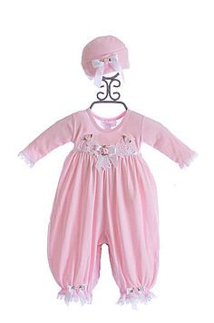 Katie Rose Pink Baby Girl Romper and Hat $78.00