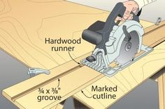 While I don't care for wrestling sheet goods atop my tablesaw to cut them, I dislike even more the hassle that comes with setting up most circular–saw guides: all that measuring, offsetting, and praying it comes out right. Woodworking Jig Plans, Woodworking Tools For Sale, Essential Woodworking Tools, Learn Woodworking, Woodworking Techniques, Woodworking Projects Diy, Wood Projects, Woodworking Furniture, Workbench Plans
