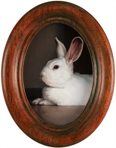 """April Monthly Miniature Rabbits, Portrait of Ellie the bunny, oil painting on aluminum, 4.5"""" x 3"""" (unframed), by Rebecca Luncan"""