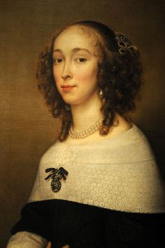 ▴ Artistic Accessories ▴ clothes, jewelry, hats in art - Adriaen Hanneman | Portrait of a lady