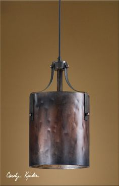 Rustic Tuscan Western Industrial Brown Copper Akron Mini Pendant Light Fixture #Uttermost #RusticPrimitive