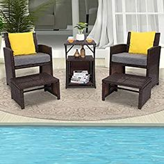 Wicker Patio Chairs Archives - Page 2 of 3 - patiofurnishing.com Wicker Patio Chairs, Single Chair, Patio Seating, Patio Furniture Sets, Space Saving, Storage Spaces, Small Spaces, Ottoman Storage, Balcony