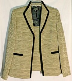 New KASPER Multi-Color Open Jacket/Blazer-Black Trim - Matching Top/Shell - 12 #Kasper #JacketBlazerwMatchingTop
