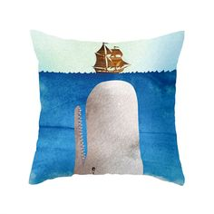 Who doesn't love whales?. On our Melville Pillow, a white whale approaches a comically undersized whaling ship in a way that brings to mind both Moby-Dick and Jaws. Whether you're an ardent reader, a l...  Find the Melville Pillow, as seen in the Uncharted Waters Collection at http://dotandbo.com/collections/uncharted-waters?utm_source=pinterest&utm_medium=organic&db_sku=MBW0014