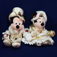 Mickey Minnie Mouse 2000 Christmas Disney Bean Bag Plush Victorian Holiday Pair #Disney