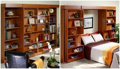 Jefferson Library Bed from More Space Place has ample storage for books or collectibles. The bookcase doors glide open on sturdy tracks.