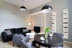 Kleines Wohn Esszimmer Einrichten  Schwarz Weiss Grau  Indirekte Wandbeleuchtung Hellgraue