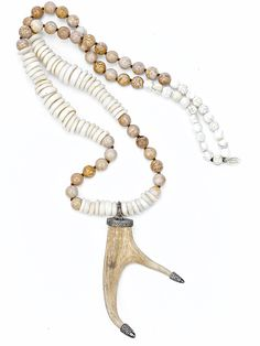 Diamond Capped Antler Puka Shell Palm Wood Necklace