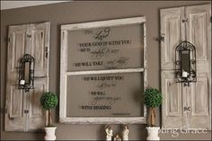 Decorating Ideas With Old Windows | The shutters hanging around the window frame are my old shutters that ...