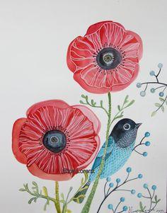 Original Watercolor / Bird Art / Wall Art / Room by sublimecolors