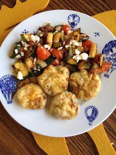 wee dumplings!  zucchini stir fry on the side.