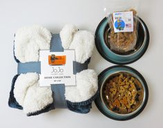 Royal Gray Cozy Pet Throw with set of 2 New Chicago Teal Dog Bowls and Natural Duck Dog Treats. - Adog.co  - 1