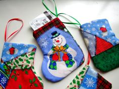 Patchwork Christmas stockings gift card holders set of 4 Handmade in America with care by IntricateHandiwork, $12.00