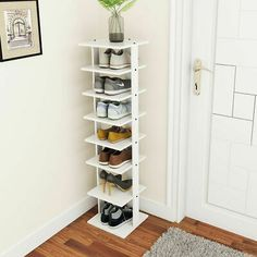 Costway Wooden Shoes Storage Stand 7 Tiers Shoe Rack Organizer Multi-shoe Rack S. Shoe Rack Organization, Shoe Storage Rack, Diy Shoe Rack, Corner Storage, Organisation Hacks, Small Space Storage, Closet Storage, Small Shoe Rack, Diy Shoe Shelf