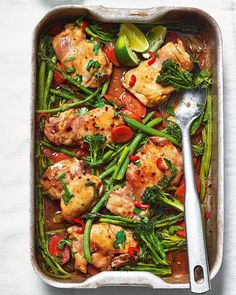 A one-pan chicken dinner that's packed full of flavour. Our teriyaki recipe takes just 5 minutes to prepare; the rest of the work is done in the oven. Teriyaki Chicken, Roast Chicken, Roast Beef, Teriyaki Sauce, Oven Roast, Traybake Dinner, Delicious Magazine, One Pot Meals, Main Meals