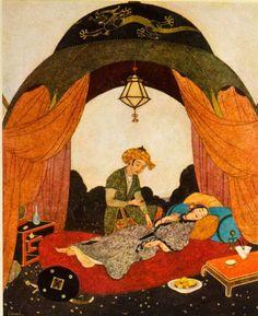 'Princess Badoura - Arabian Nights - Edmund Dulac' Art Print by forgottenbeauty Canvas Art Prints, Canvas Wall Art, Framed Prints, Legend Stories, Edmund Dulac, Arabian Nights, Art Boards, Fairy Tales, Oriental