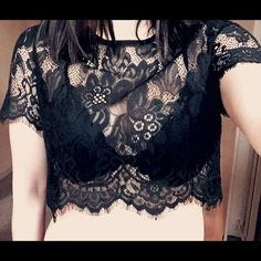 Nasty gal lace crop top Never worn. Soft lace. Small half way zipper in the back. NO TRADE Nasty Gal Tops Crop Tops