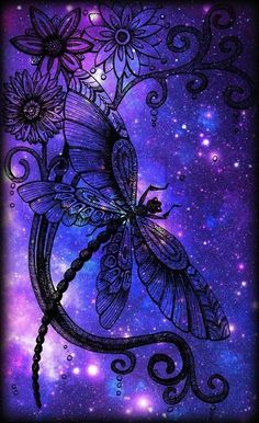 Dragonfly in space Dragonfly Quotes, Dragonfly Art, Dragonfly Tattoo, Purple Love, All Things Purple, Periwinkle, Graffiti Kunst, Beautiful Butterflies, Pretty Pictures