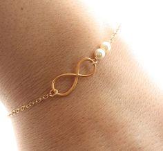 Infinity Pearl Bracelet, Dainty Gold Filled Bracelet - Bridesmaids Bracelet, Infinity Bracelet, Delicate Charm Bracelet, Friendship Bracelet